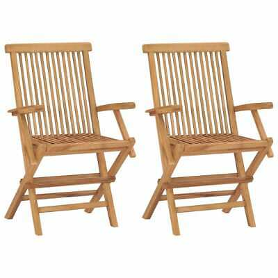 Teak 2 pcs Wood Wooden Garden Chairs Armchairs Outdoor Terrace Foldable