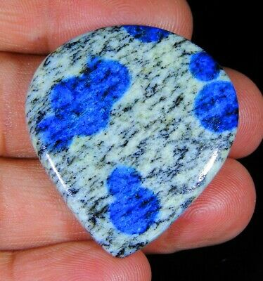 47 Ct Superb Natural Blue Dot Lazulite In Granite K2 Pear Cabochon Gemstone A275
