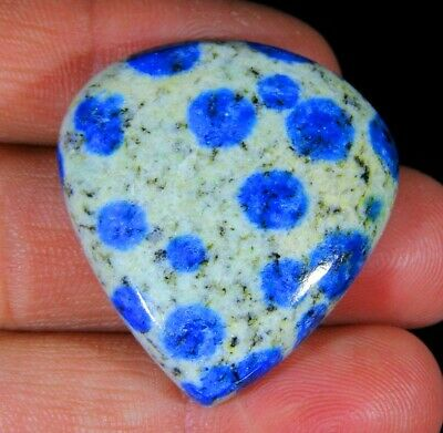 65 Ct Superb Natural Blue Dot Lazulite In Granite K2 Pear Cabochon Gemstone A286