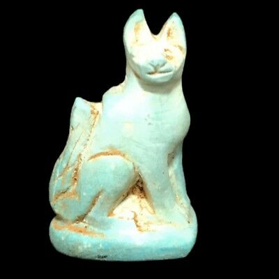 Beautiful Ancient Egyptian Blue Cat Amulet 300 Bc (15)