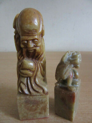 Lot of 2 vintage Chinese carved soap stone Wax Seal stamps Foo Dog & old man