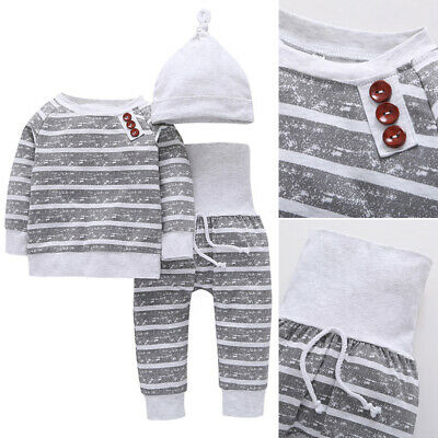 Set Baby Pants&hat Sleeve Kids Newborn 3pcs T-shirts Outfit Clothes Boys Long