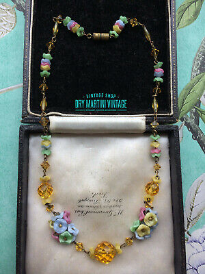 VINTAGE ART DECO 1920s 30s PRETTY CZECH FLOWER BEADS NECKLACE SPRING SUMMER GIFT