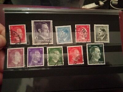 LOT 10 STAMPS  - Germany Third Reich + Occupation 1941-1943 Used - Hitler - 1