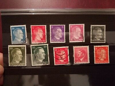 LOT 10 STAMPS - Germany Third Reich + Occupation 1941-1943 Used - Hitler -2