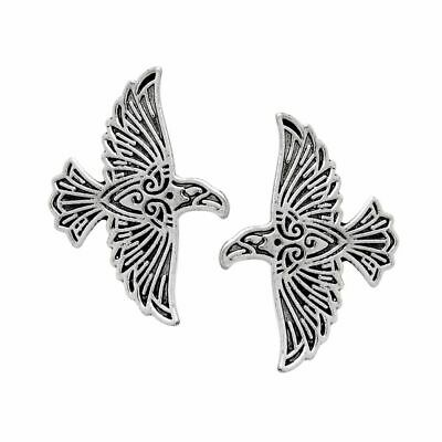 Viking Flying Raven Pin Silver Bronze Norse Crow Brooch For Men Vinatge Anima...
