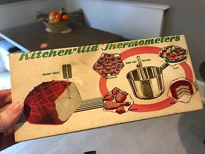 Vintage Chaney Kitchen Aid Thermometer MEAT CANDY Orig. Box & Instructions