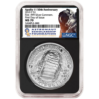 2019-P UNC $1 Apollo 11 50th Ann Silver Dollar NGC MS70 FDI ASF Label Retro Core