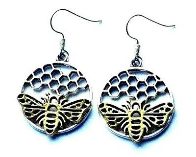 SILVER & GOLD BEE & HONEYCOMBE DISC[25mm] EARRINGS WITH ORGANZA GIFT BAG