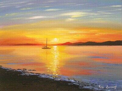 Pete Rumney Art Original Canvas Painting Sunset Serenity Lake Boat Yacht Sailing