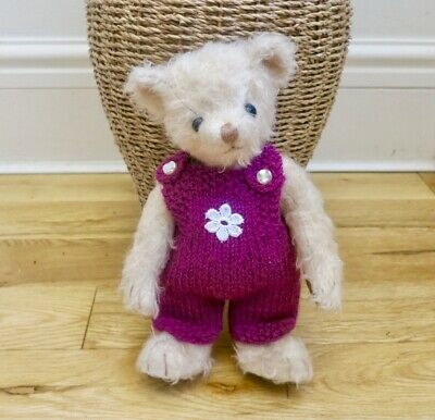 ++TEDDY CLOTHES++ new hand knitted dungarees to suit a 9 inch bear