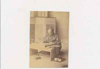 1880's Japanese Artist at Work Some Hand Coloring Albumen Photograph