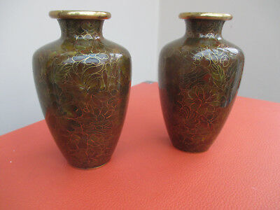 Antique Vintage Retro Pair of Cloisonne Vase Gold Autumn Colour Made in China
