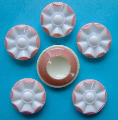 5 Vintage Glass & 1 Antique 'China' Enamelled Pink & White Buttons, 23mm & 27mm