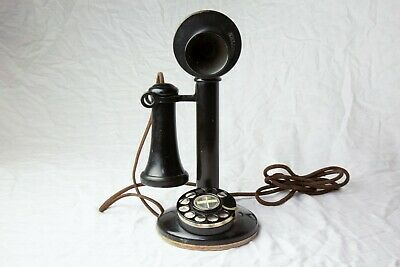 Vintage Phone Rotary - Candlestick style, Black
