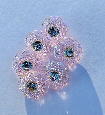6 x 18mm Vintage Lilac-Pink Glass Buttons, Lacy Pattern, Lustre and Rhinestones