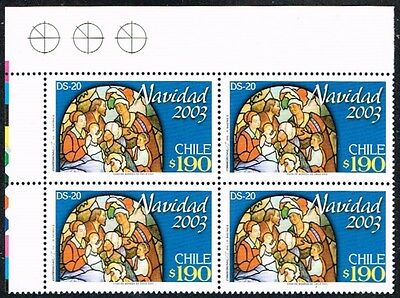 Chile 2003 Stamp # 2137 Ds-20 Mnh Block Of Four Christmas Corner Of Sheet