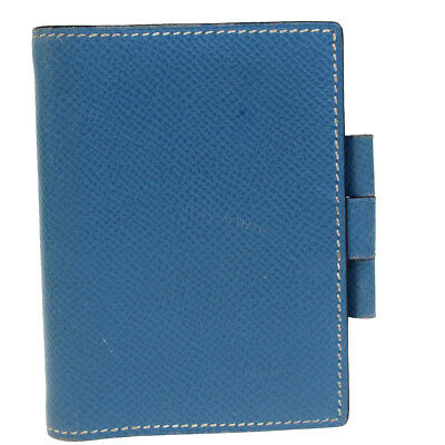 Auth HERMES Logos Mini Agenda Day Planner Notebook Cover Leather Blue 08BD424