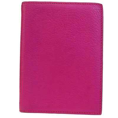 Authentic HERMES Logos Agenda Day Planner Notebook Cover Leather Pink 02EB461