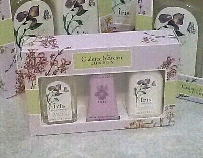 Crabtree & Evelyn IRIS Body Lotion Bath Shower Gel Hand Therapy Travel GiFt SeT