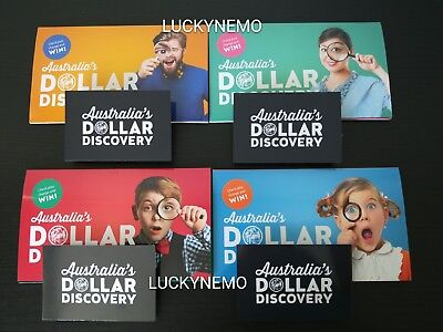 """4×2019$1Dollar Discovery Folder+UNC""""A U S""""COINS-Yellow/Green/Red/Blue Case/Album"""