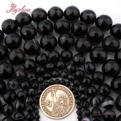 """Round Faceted Stripe Black Agate Onyx Natural Stone Beads for Jewelry Making 15"""""""