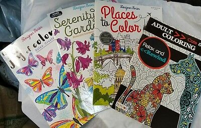 4 Adult Coloring Books - Cats & Dogs CITIES Serenity Garden & BUTTERFLIES