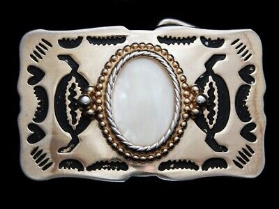 MA07172 VINTAGE 1970s **OVAL ABALONE SHELL** WESTERN & COWBOY DESIGN BELT BUCKLE