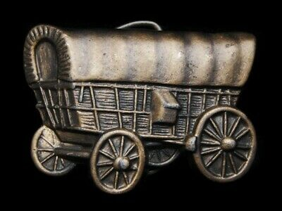 MA09141 VINTAGE 1970s CUT-OUT **COVERED WAGON** OLD WEST BRASSTONE BELT BUCKLE