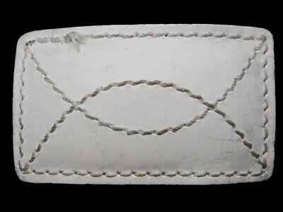 MA09167 VINTAGE 1970s **TOP STITCHED DESIGN** WHITE LEATHER WESTERN BELT BUCKLE