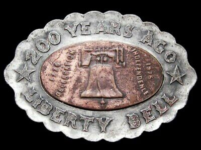 IH07133 AWESOME VINTAGE 1970s **LIBERTY BELL** 200 YEARS PEWTER & BRASS BUCKLE