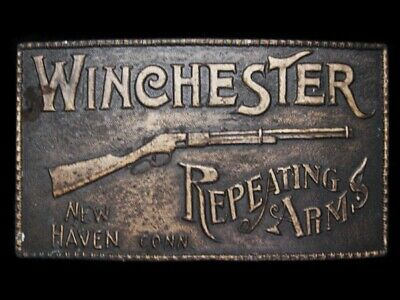 MB07106 VINTAGE 1970s **WINCHESTER REPEATING ARMS** BRASSTONE BELT BUCKLE