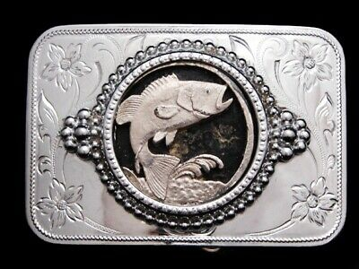 MA11110 VINTAGE 1970s **LARGE MOUTH BASS JUMPING OUT OF WATER** BELT BUCKLE
