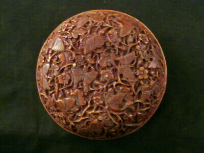 Chinese Hand Carved *Butterfly* Circle Box E092