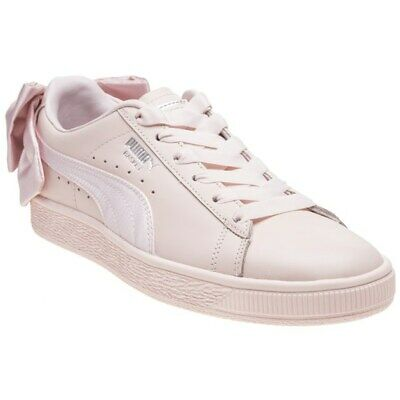 New Womens Puma Pink Natural Basket Bow Leather Trainers Court Lace Up a484ea6be