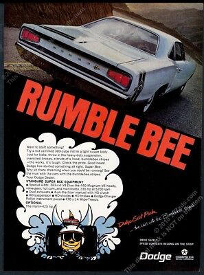 1968 Dodge Coronet Super Bee blue car photo Rumble Bee vintage print ad