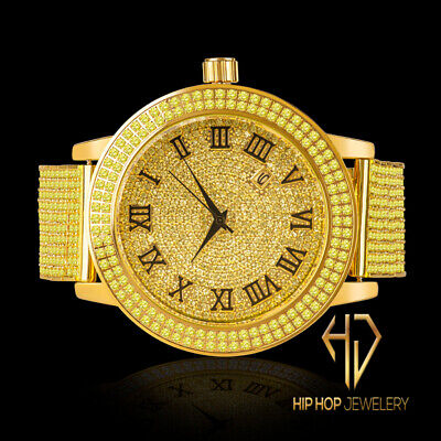 Men Gold Canary Roman Ice House Simu Diamond 2 Row Custom Steel Watch Band Bezel