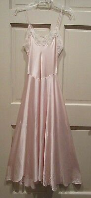 5318a58508 Victorias Secret 100% Silk Long Nightgown Gown Size Small Blush Lace Glitter