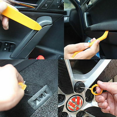 12pcs Car Radio Door Clip Panel Trim Dash Audio Removal Pry Tool Kit Plastic FF
