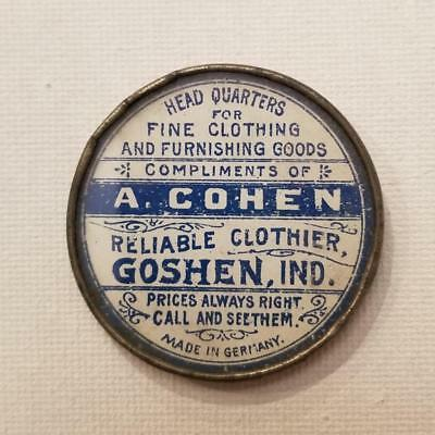 Old Antique Pocket Mirror advertising A. COHEN CLOTHIER Goshen IN Indiana