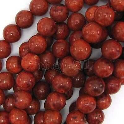 "10mm Genuine Natural Red Sponge Coral Round Gemstone Loose Beads 15"" AAA"