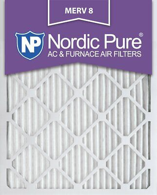 Nordic Pure 16x25x1M8-6 MERV 8 Pleated AC Furnace Air Filter 16x25x1 Box of 6