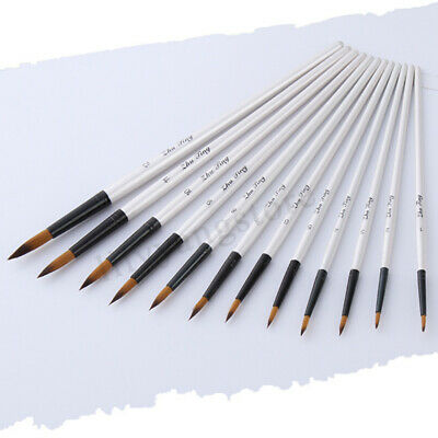 12 Artist Watercolor Painting White Brushes Oil Acrylic Flat&Tip Paint Kit