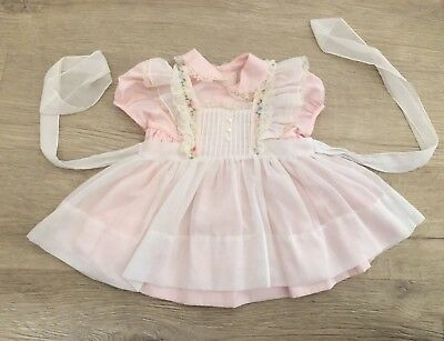 Vintage 1950's Easter Girls Party Dress Toddler Pink Dress Pinafore 18 Months