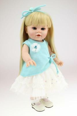 16'' Full Vinyl Girl Bebe Xmas Accompany Golden Hair Handmade Alive Toddler Gift