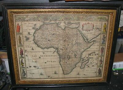 1676 AFRICA Map John SPEED - First English Map of Africa Framed in 1890 - RARE