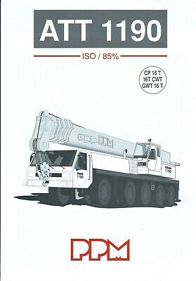 Equipment Brochure - PPM - ATT 1190 - Truck Crane - c1995 (E5013)