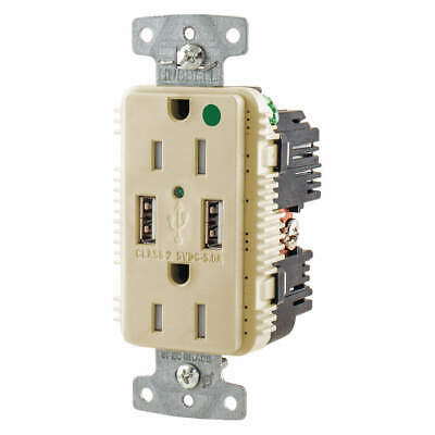 HUBBELL WIRING DEVICE-KELLEMS USB Charger Receptacle,2 Ports,2 Poles, USB8200A5I