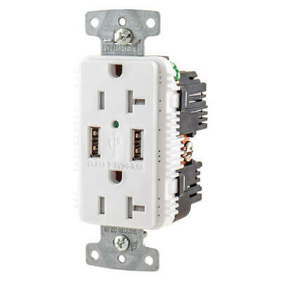 HUBBELL WIRING DEVICE-KELLEMS USB Charger Receptacle,2 Ports,2 Poles, USB20A5W