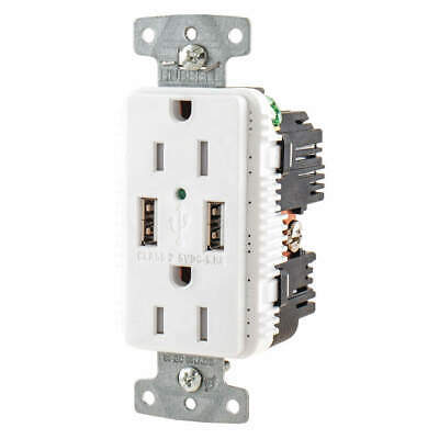 HUBBELL WIRING DEVICE-KELLEMS USB Charger Receptacle,2 Ports,2 Poles, USB15A5W